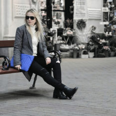 beat the spring chill in style: check boyfriend coat, ripped jeans, chunky knit and bold clutch