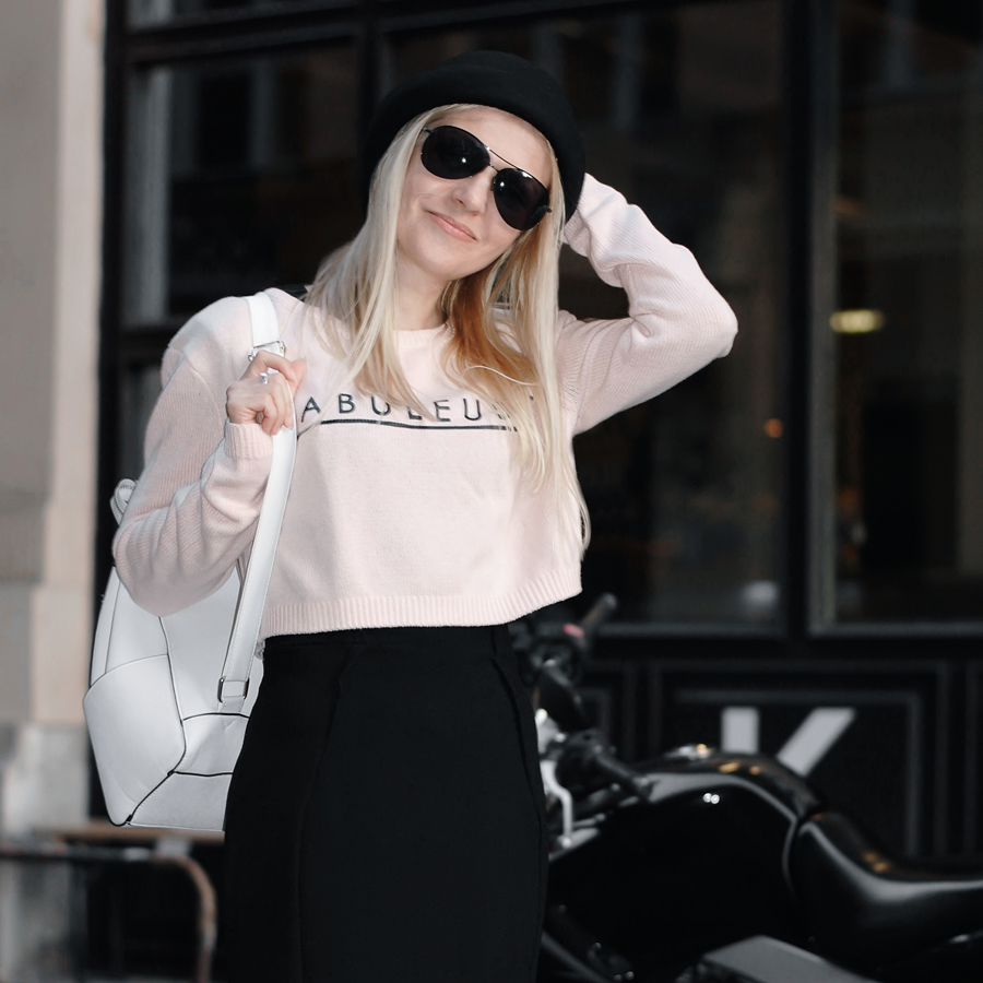 french chic cropped sweater black dress white backpack bowler hat EPIC STREET STYLE by Gabriella