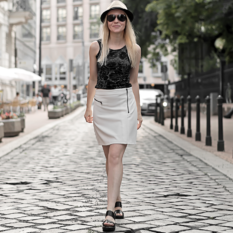 floral nineties crop top, white biker skirt, straw trilby, chunky minimal sandals, black aviators, summer outfit