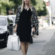 3 ways to wear the black pencil dress, city chic, floral bomber, little black dress, leopard skaters, white backpack, mirrored aviators