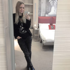 basel adagio apartment hotel gabriella epic street style ootd velvet blazer kiss band t-shirt ripped jeans ankle boots