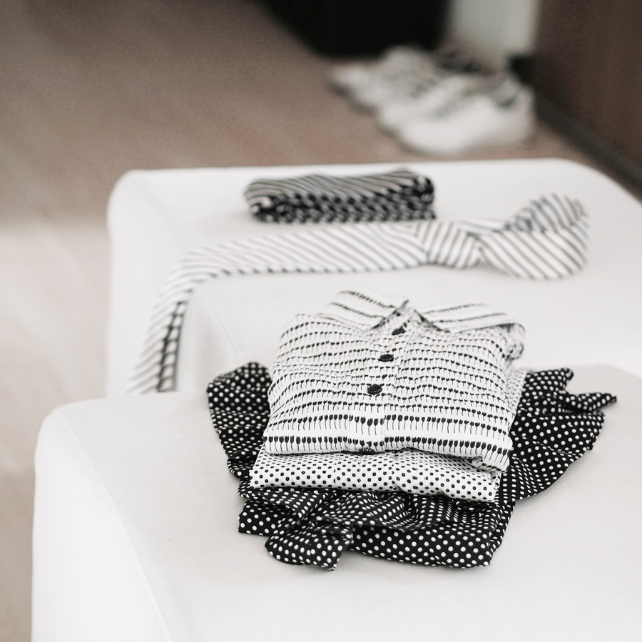 black and white patterns to build minimal looks