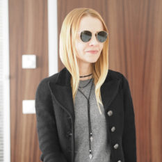 minimal office-friendly smart casual outfit black grey look blazer sweater choker ray-ban