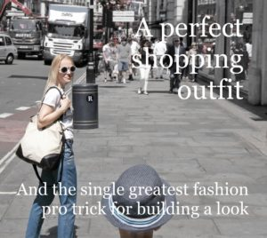 the single greatest fashion pro trick for building an outfit, baroque tile print blue gold trousers, white Mexico motif t-shirt, white round sunglasses, beige flat loafers, canvas and leather shopper, shopping, Regent Street London
