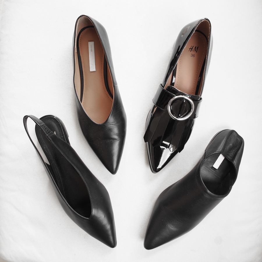 my top 3 minimal shoe styles for spring in black
