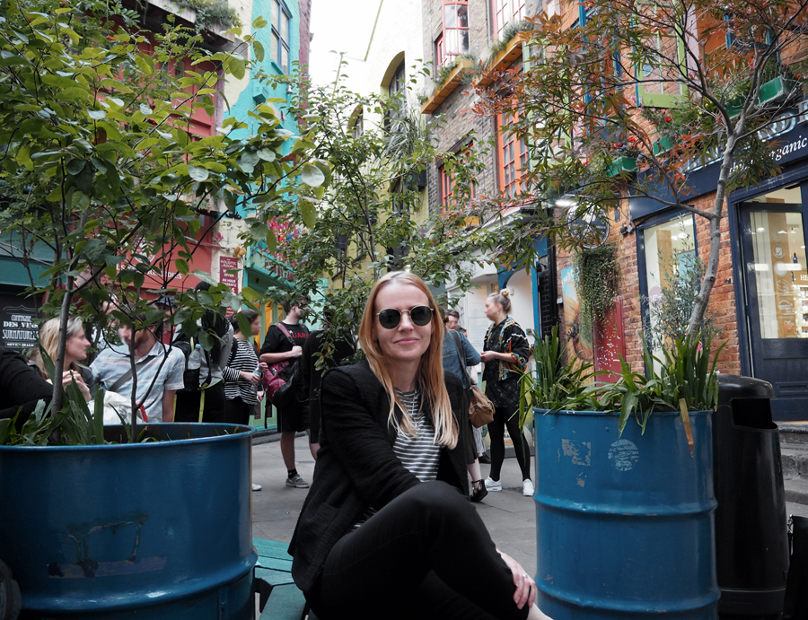 black suit luxe leather mules stripes ray-ban london Neal's Yard Soho outfit