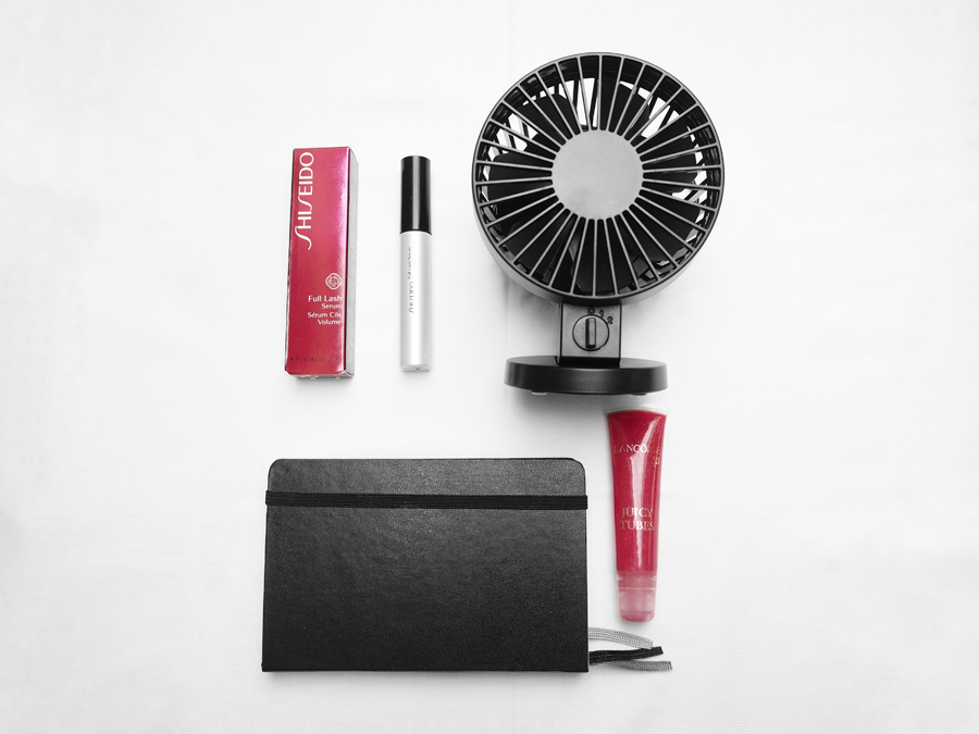beauty and London staples Shiseido full lash serum Lancome Juicy Tubes Muji USB fan Moleskine London notebook