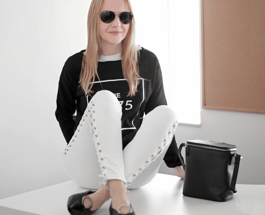 minimal chic outfit white lace-up skinny high waist jeans Topshop Jamie, Muji black and white striped t-shirt, black the 1975 cropped sweatshirt, silver loop detail leather pumps H&M, Nakedvice The Perspective leather bag, Ray-Ban sunglasses